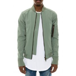 civil jacket rip stop double zip bomber olive green