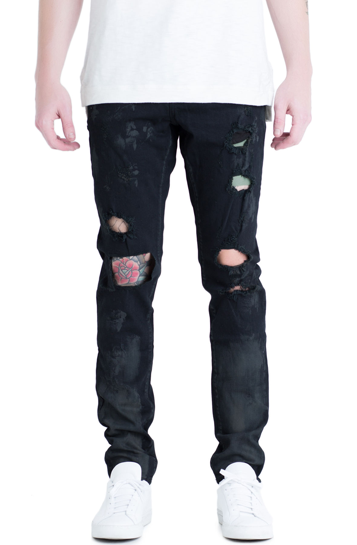 Image of The Trenton Distressed Denim Jeans in Black