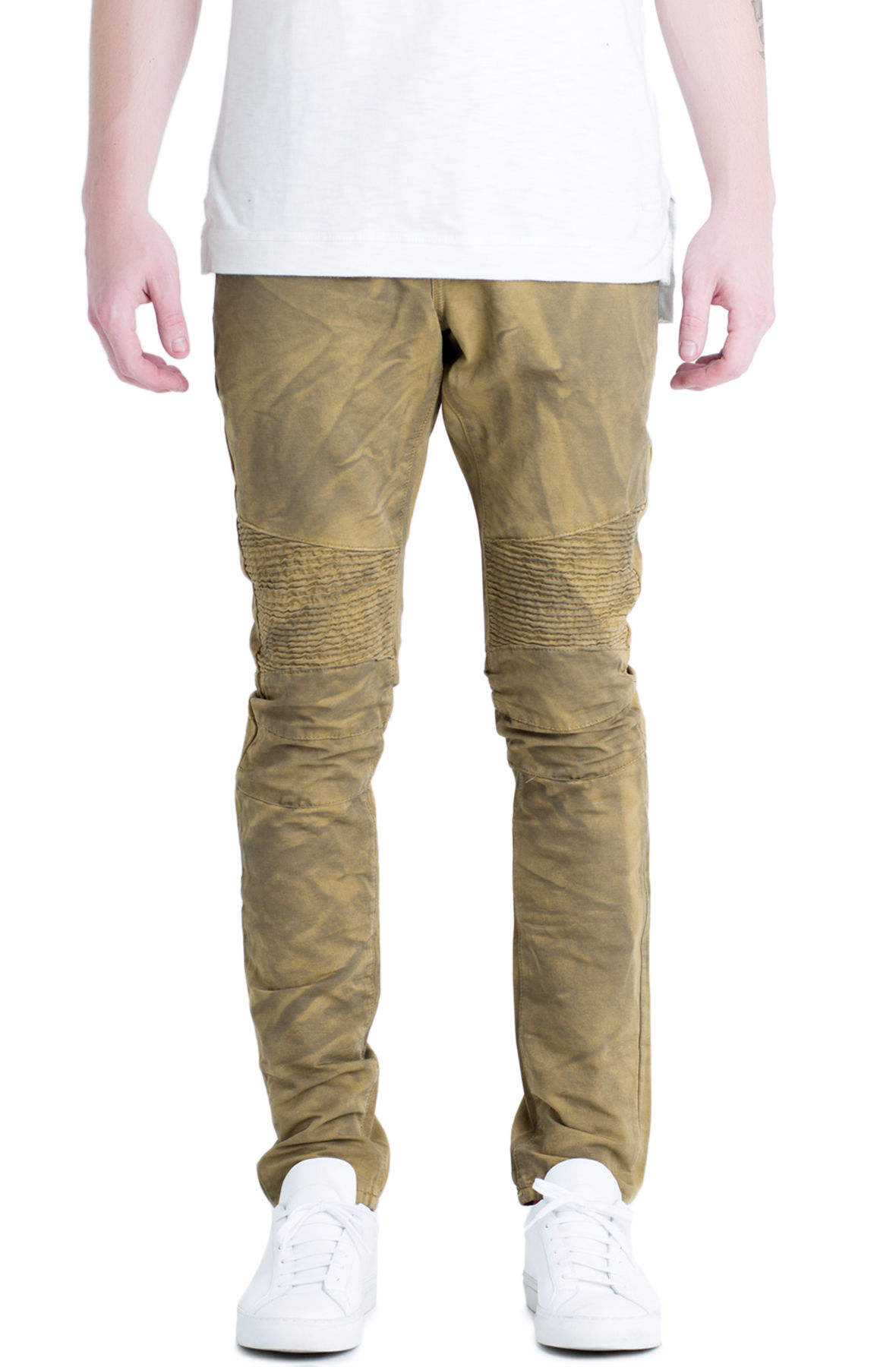 Image of The Gacy Biker Denim Jeans in Olive