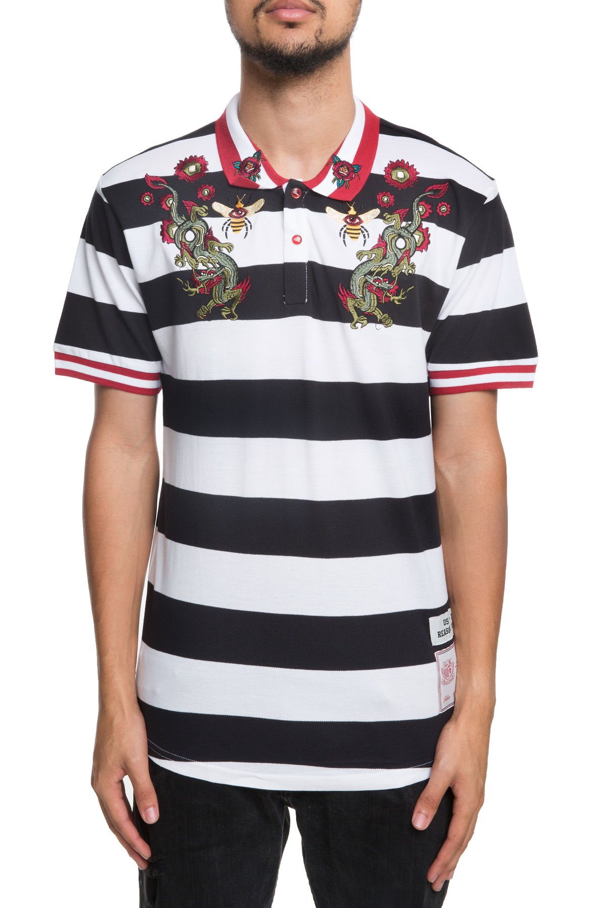 Image of The Dragon Striped Polo in White and Black