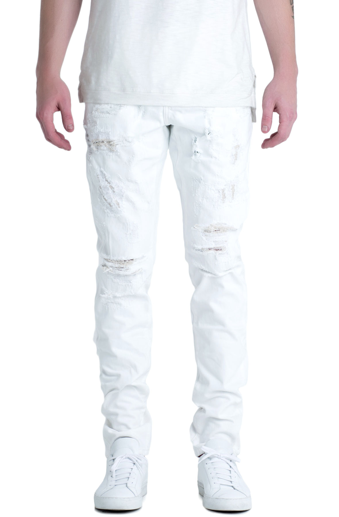 Image of The Ramirez Distressed Denim Jeans in White