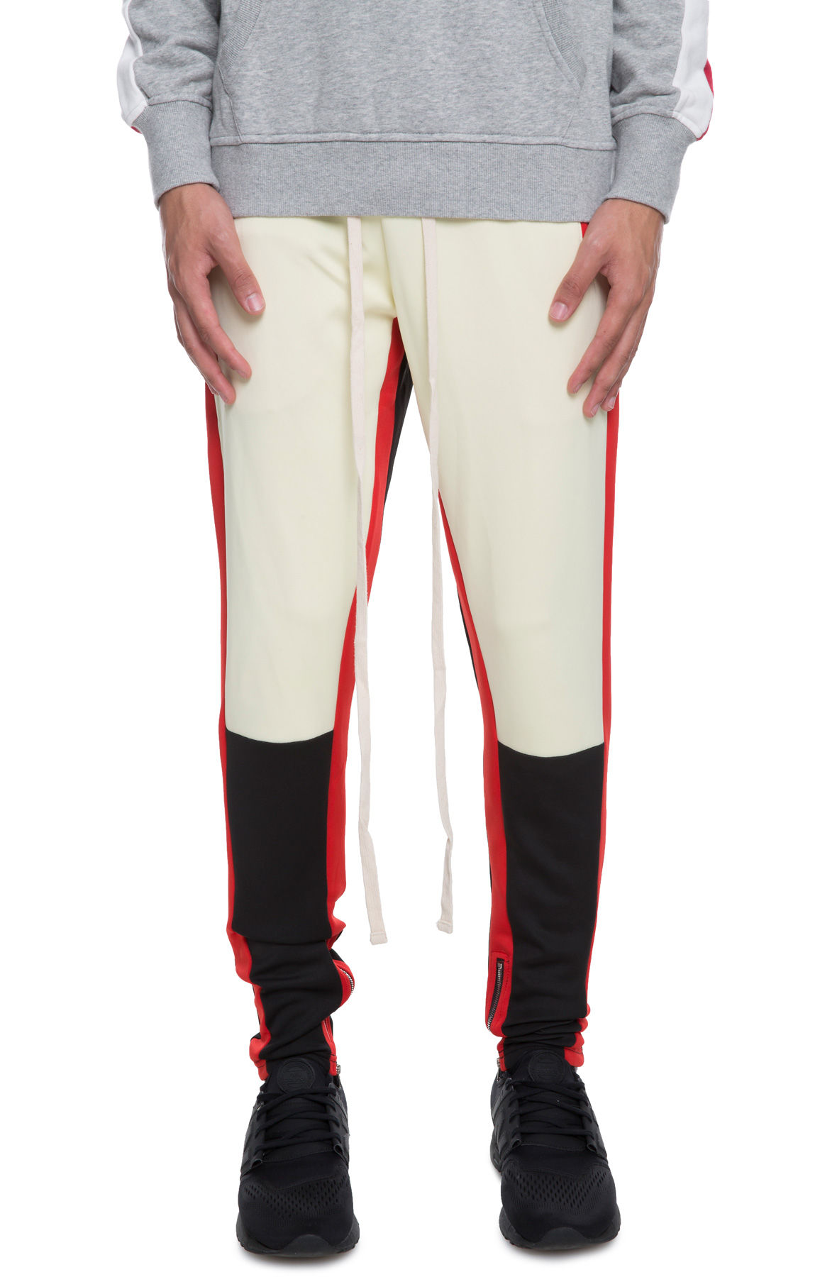 Image of The Mayne Track Pant in Cream and BRED