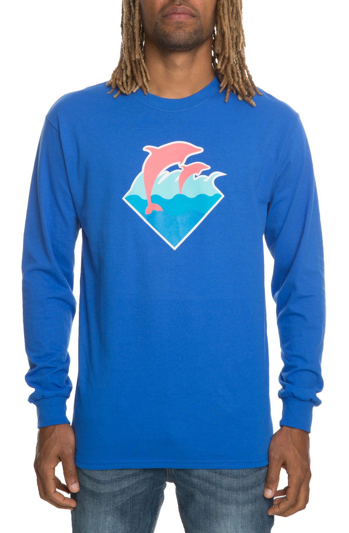 the wave puff print long sleeve in blue