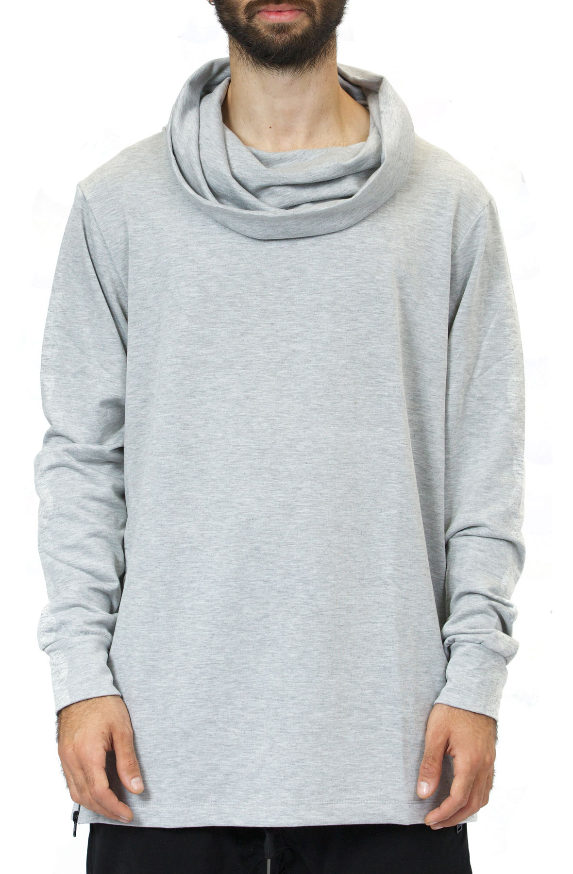 Image of Cowl Neck French Terry Top With Contrast Zipper