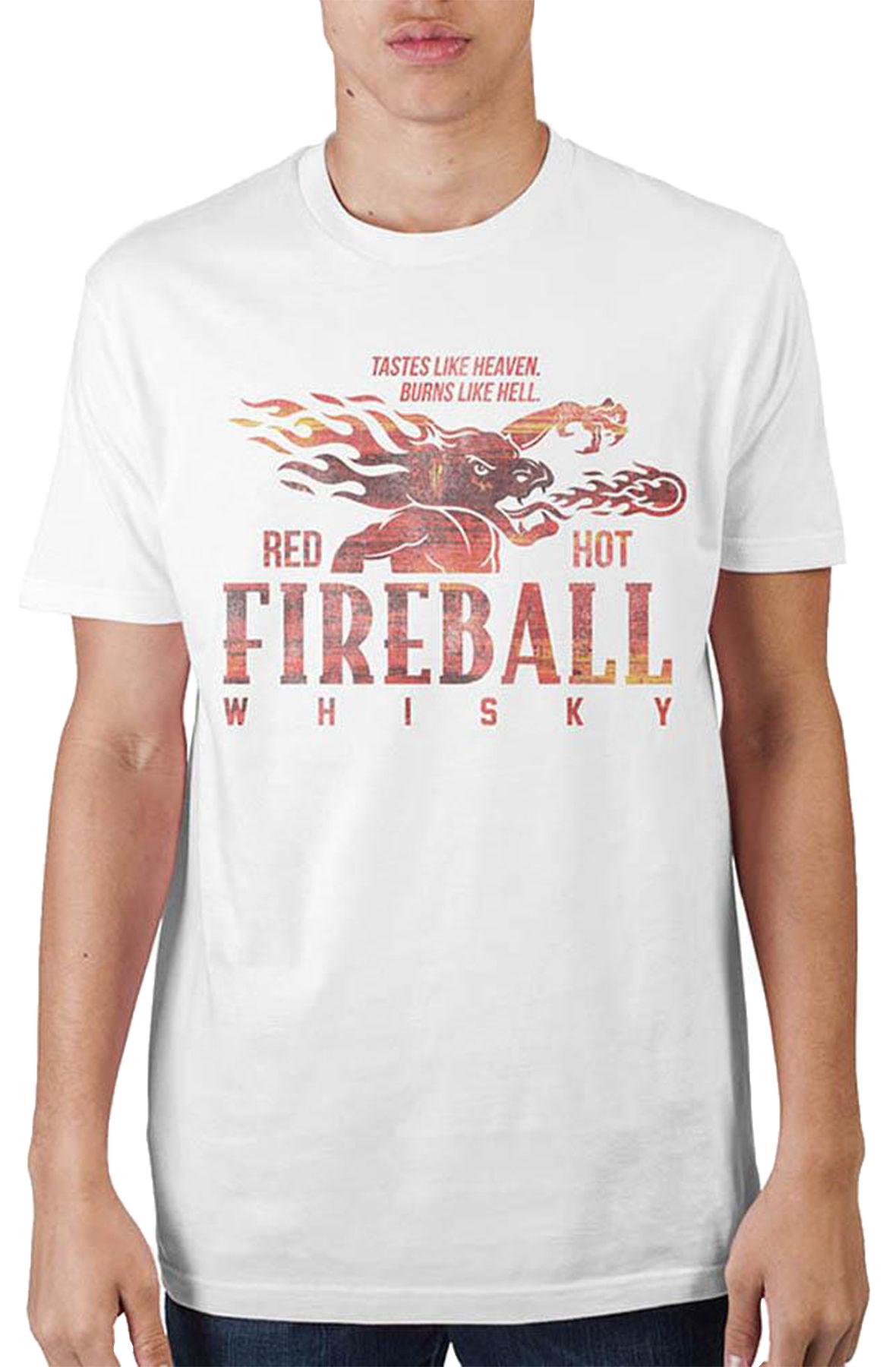 Image of The Fireball Whiskey T-Shirt in White