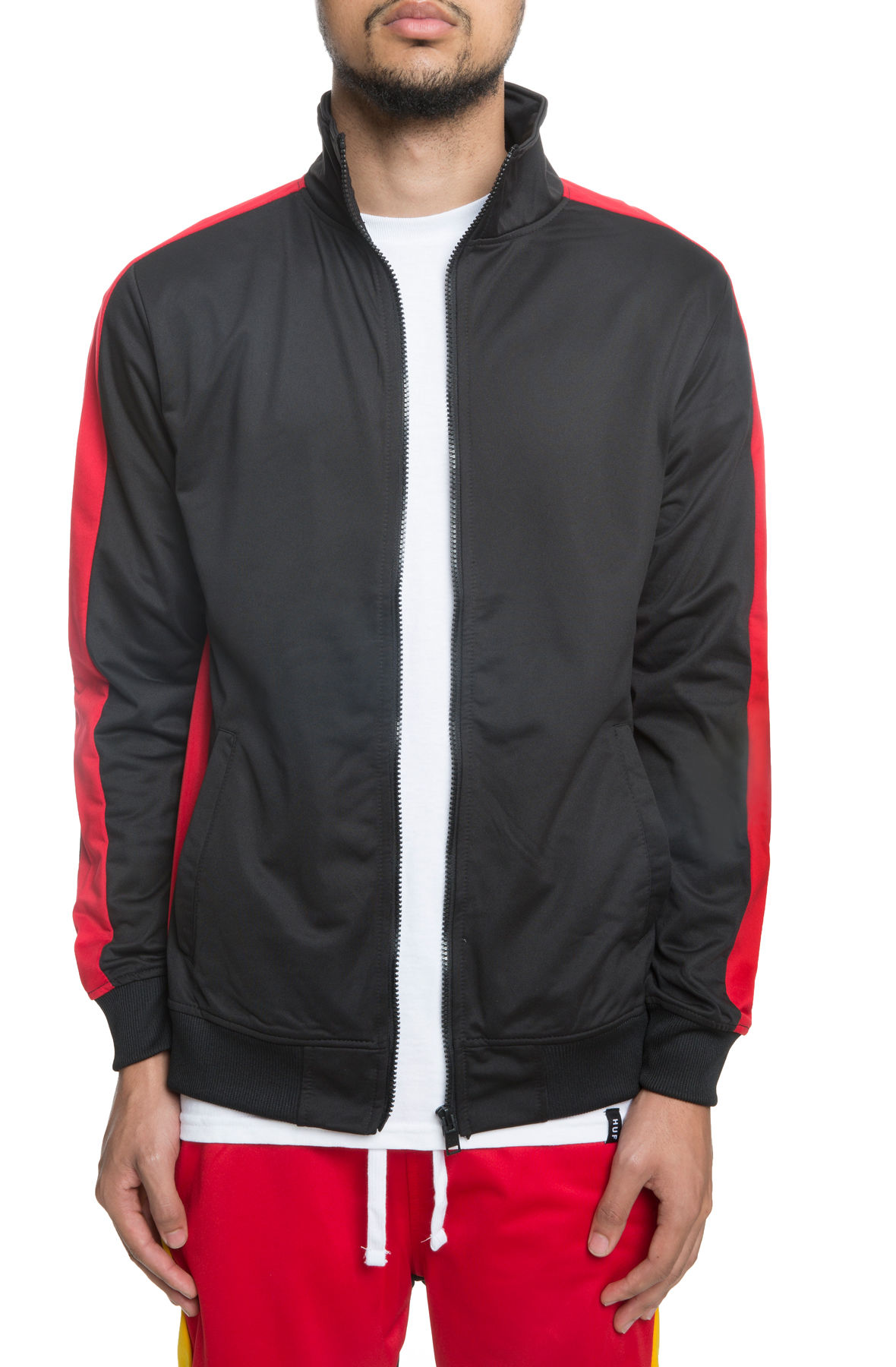 Image of The Guido Track Jacket in Black and Red