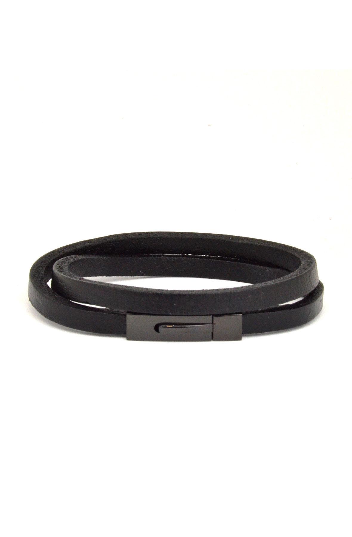 black komodo leather bracelet