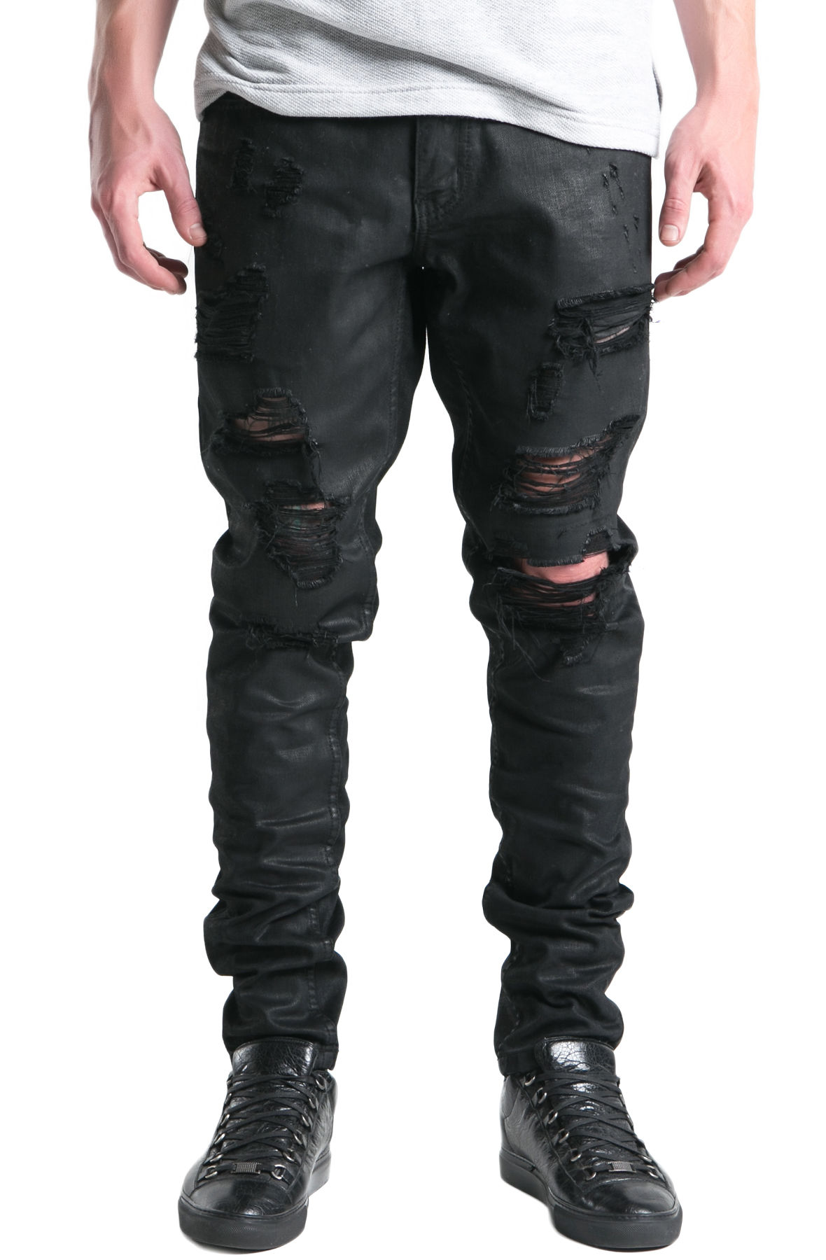 Image of The Phantom Ripped Standard Denim Jeans in Black Wax