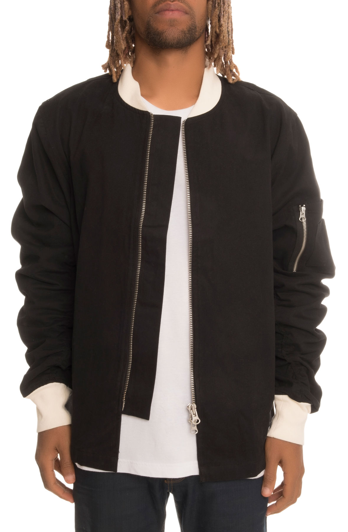 Image of The Longley Extended Bomber with Sleeve Rouching in Black