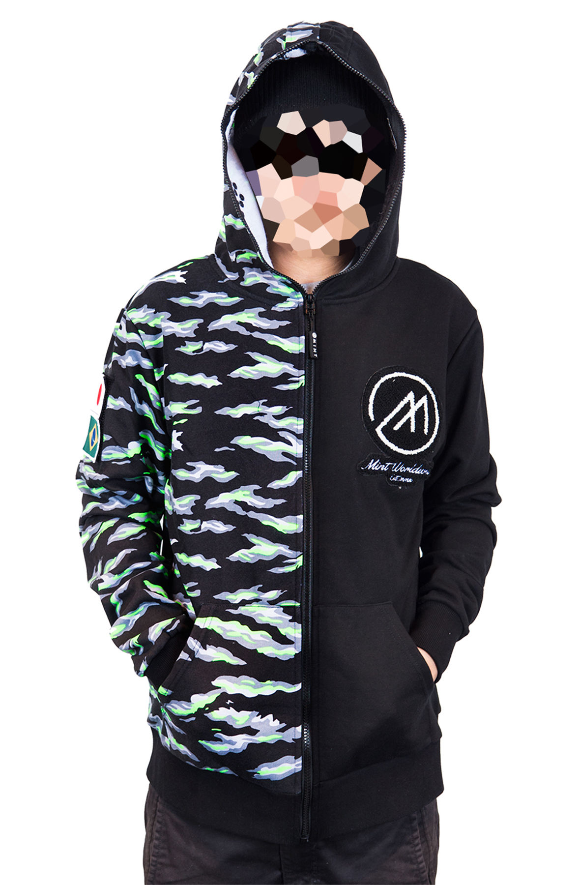 Image of Mint Tech Hoodie Neon Tiger