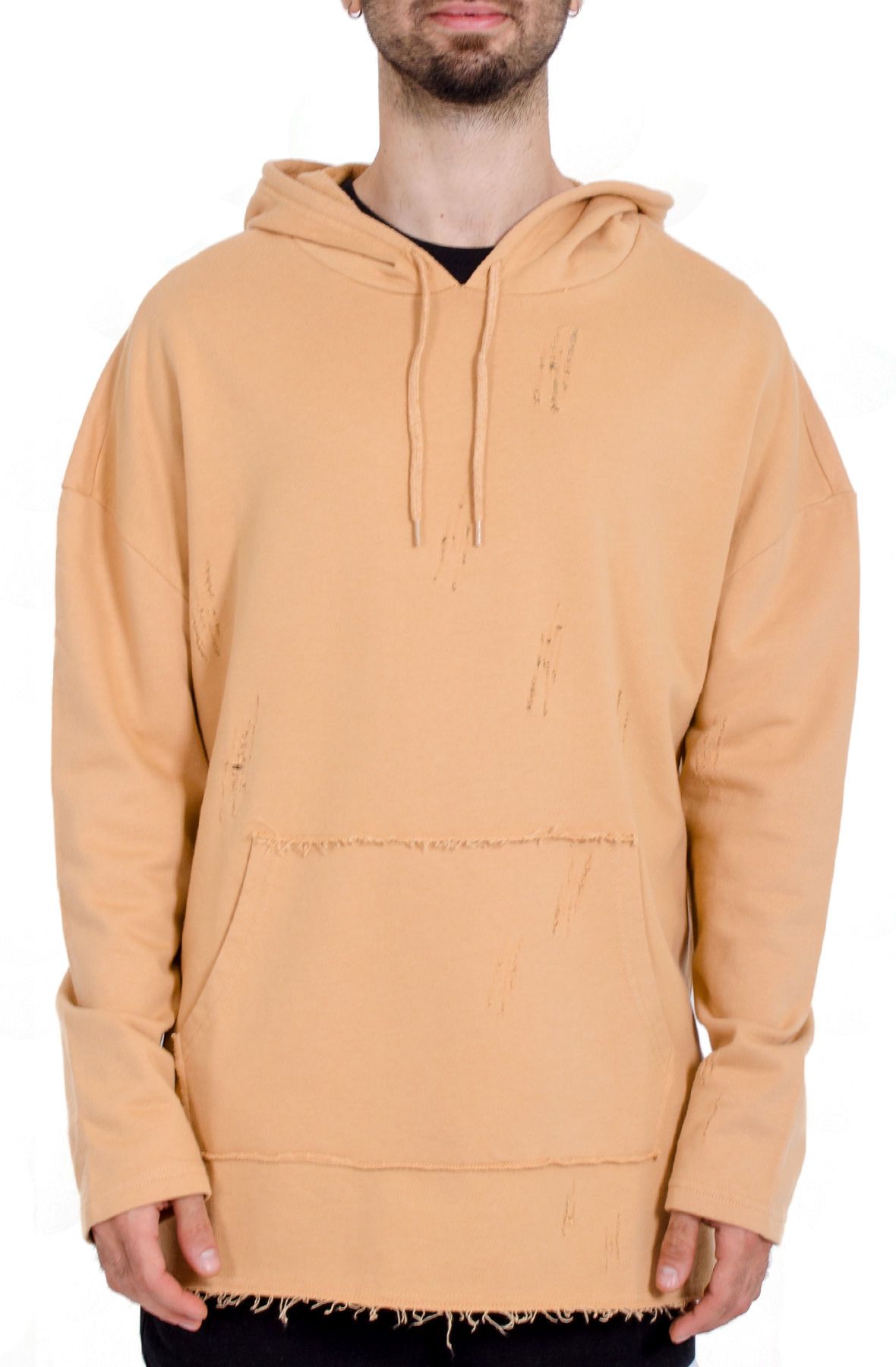 Oversized Distressed Hoodie / Tan