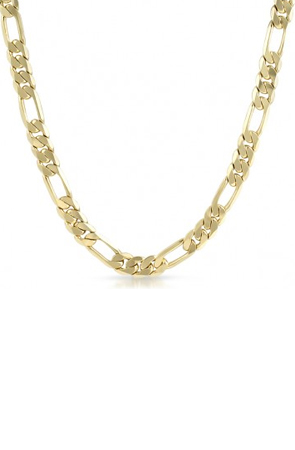 9mm Gold Plated Italian Figaro Mens Necklace