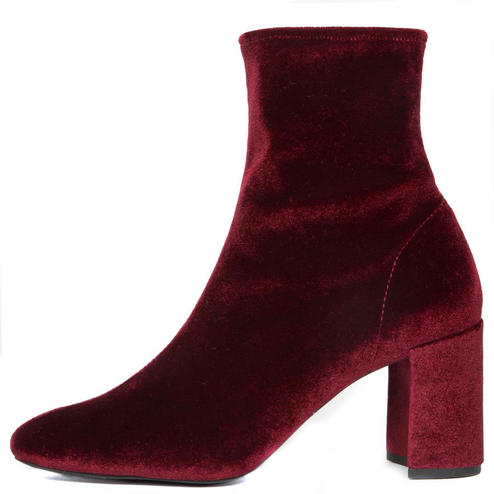 Cienega-Lo Burgundy Velvet Heeled Booties