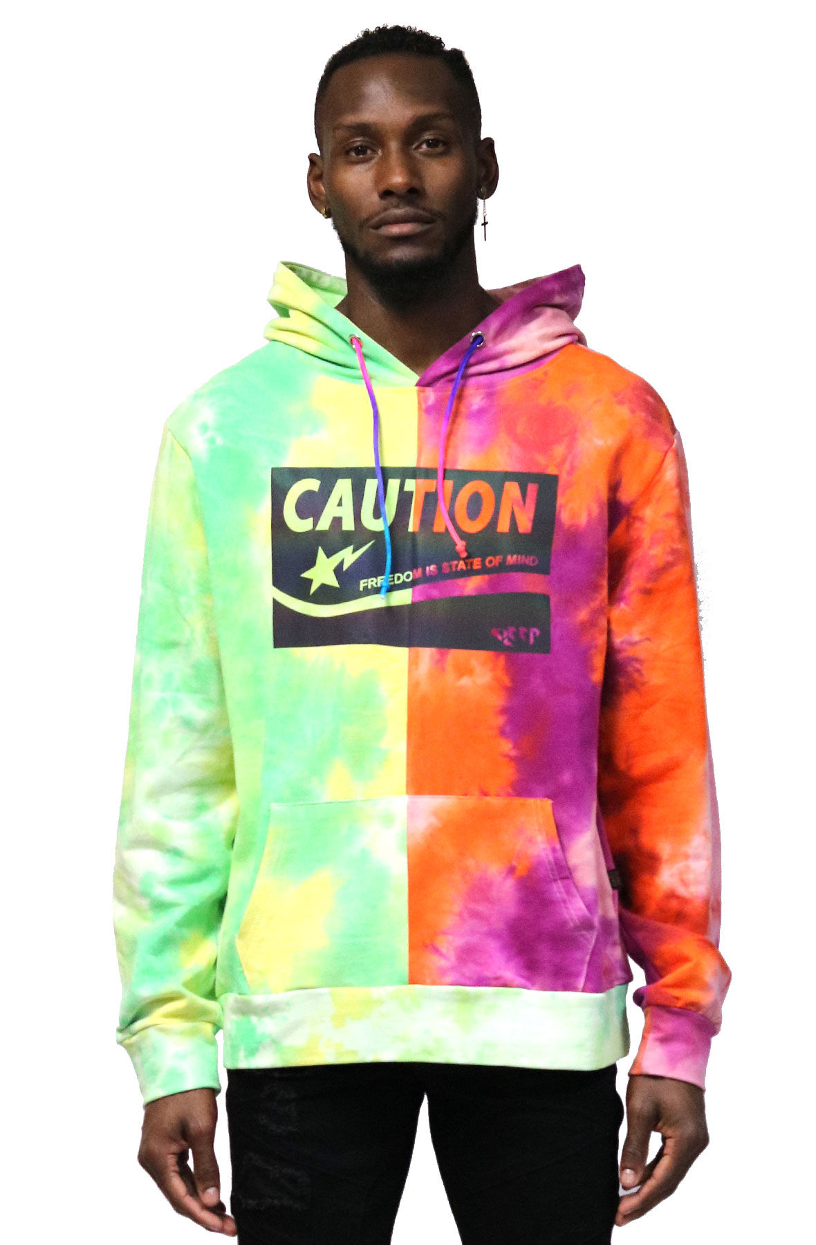 Dixon Men's Premium Half And Half Tie Dye French Terry Hoodie With Reflective Print Details