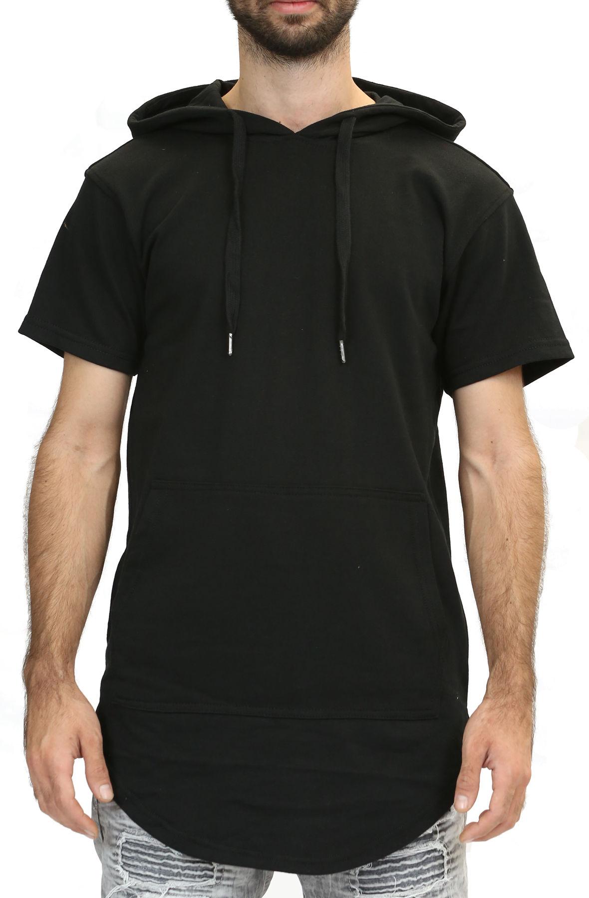 Image of Elongated Hoodie in Black / Short Sleeve