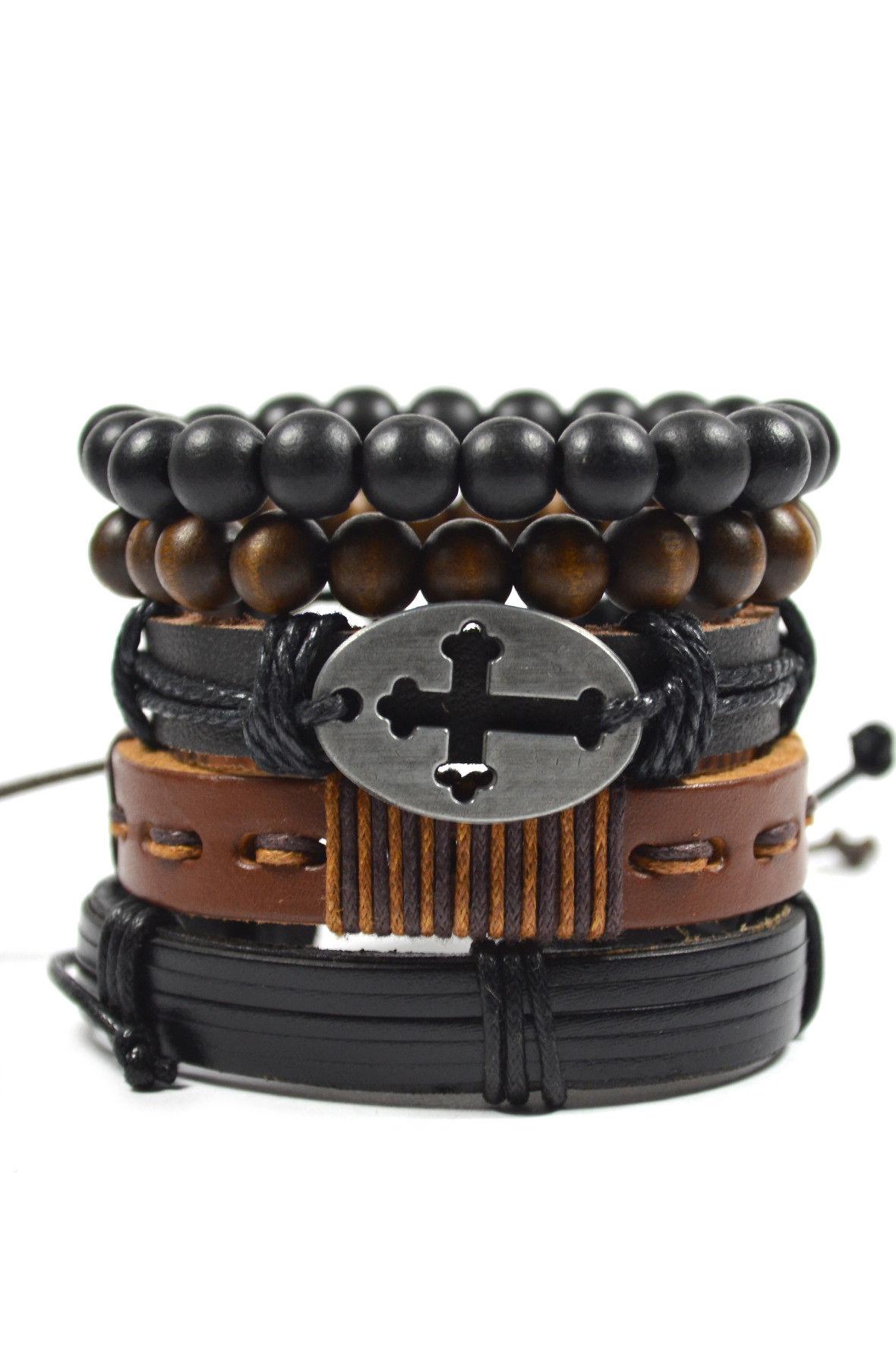 5 Pack Black and Brown Cross Men's Bracelet Set