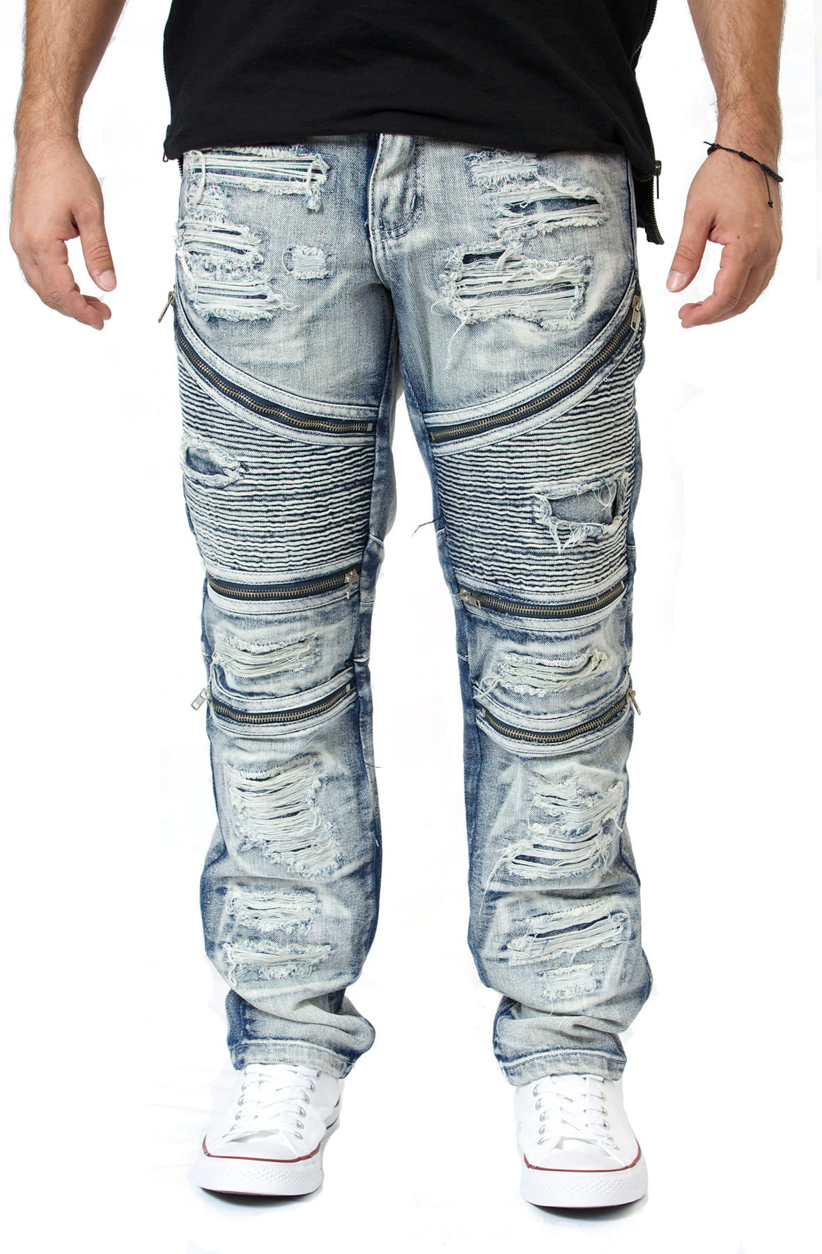 Image of Distressed Biker Jeans in Cool Ice