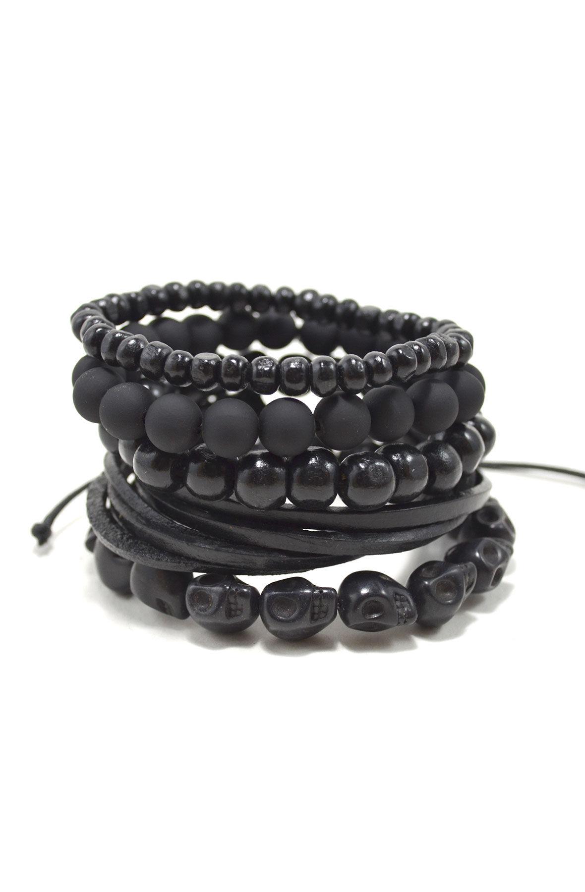 5 Pack Men's Bracelet Set / Blackout