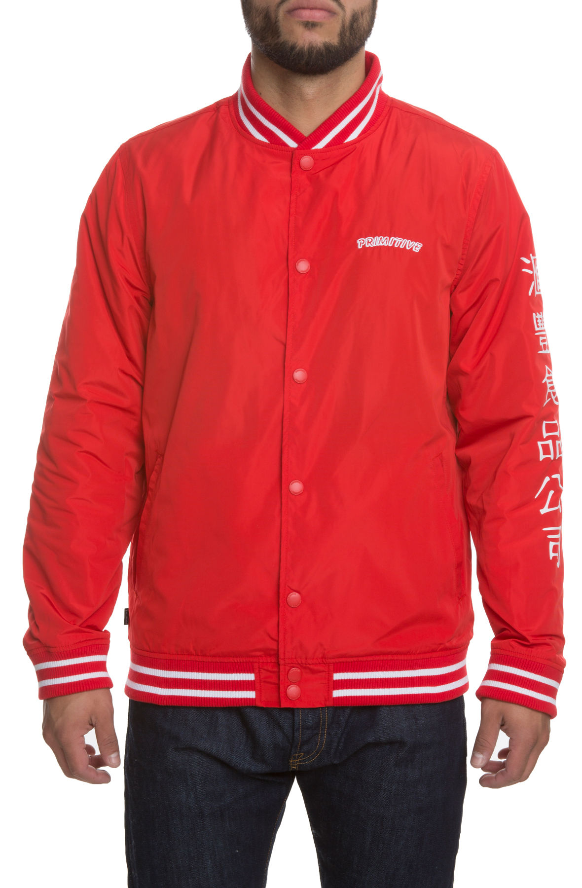 The Primitive x Sriracha Huy Fong Sherpa Varsity Jacket in Red