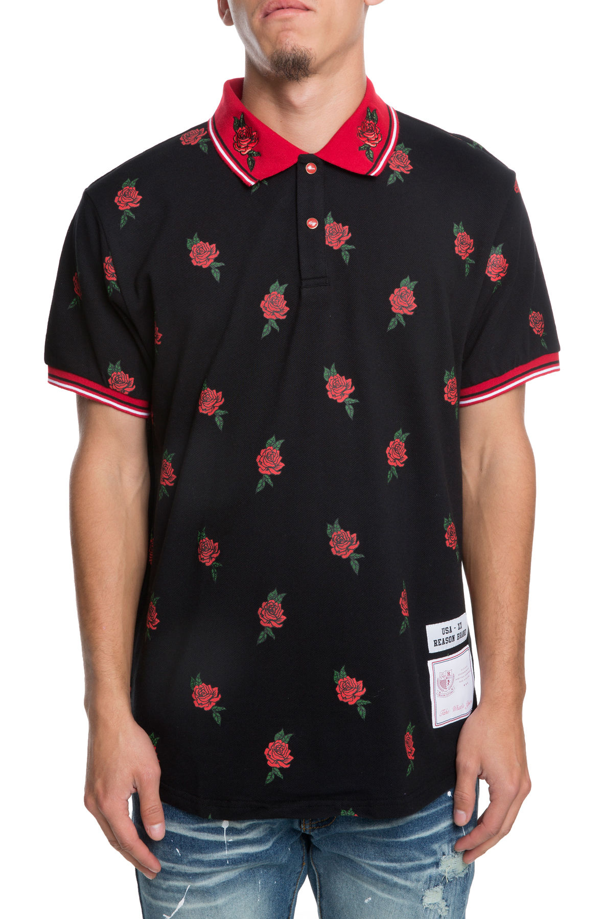 Image of The All Over Roses Polo in Black