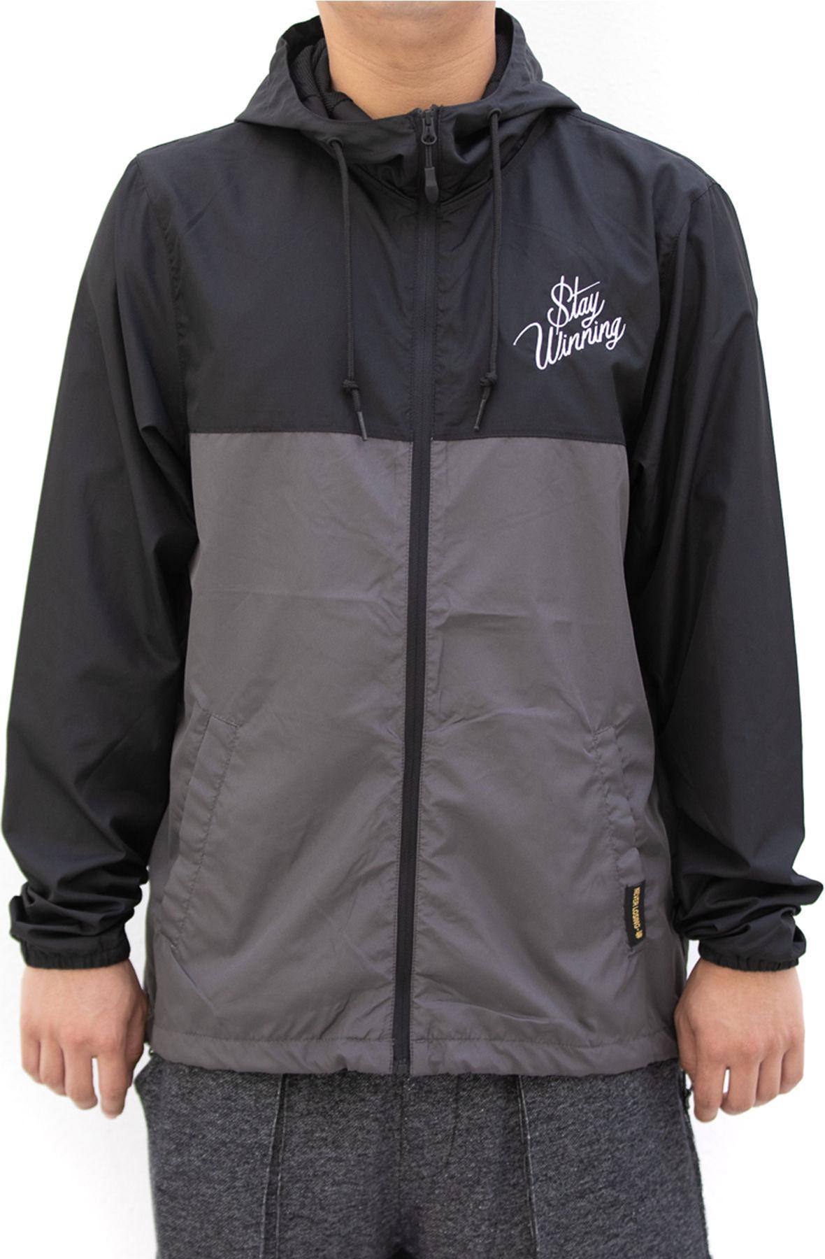 Image of Stay Winning Script Embroidered Black/Gray Windbreaker Jacket