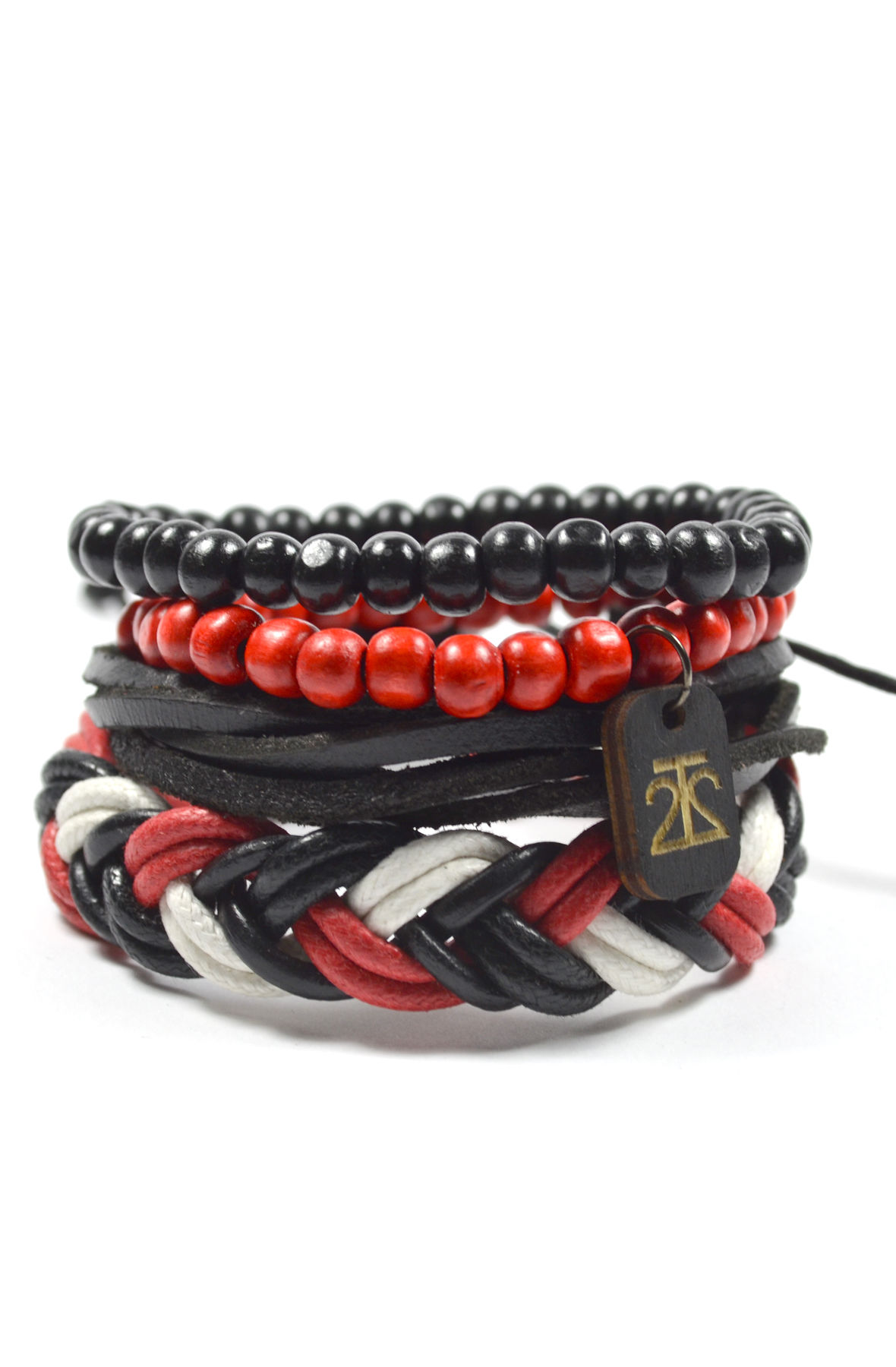 4 Pack Red/Black/White Men's Bracelet Set