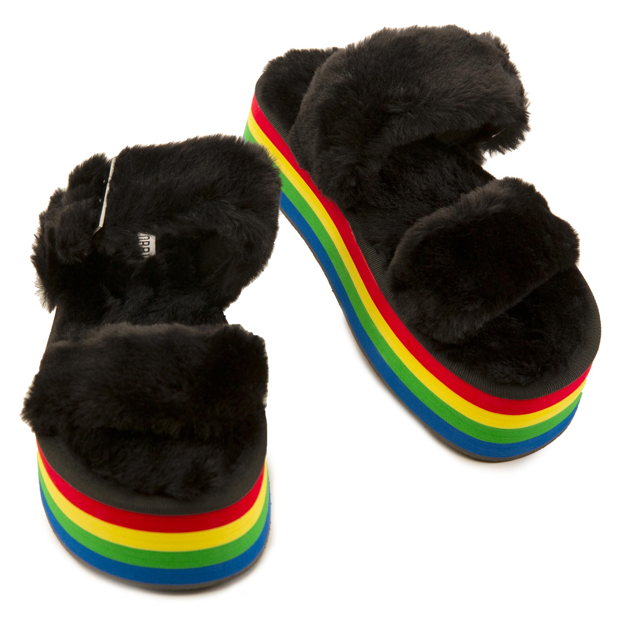 Theclub Fur Platform Sandals
