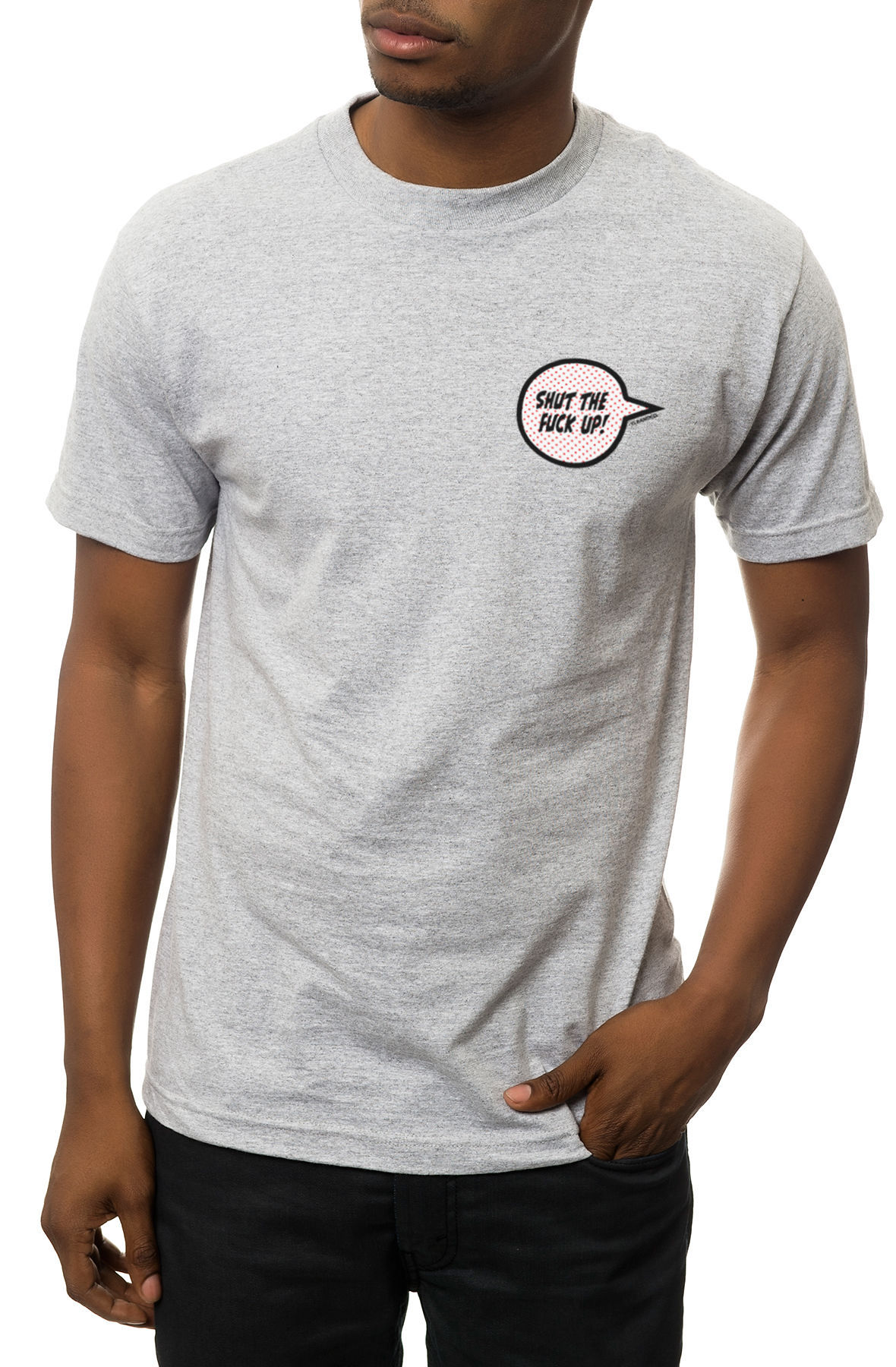 The STFU Tee in Heather Grey