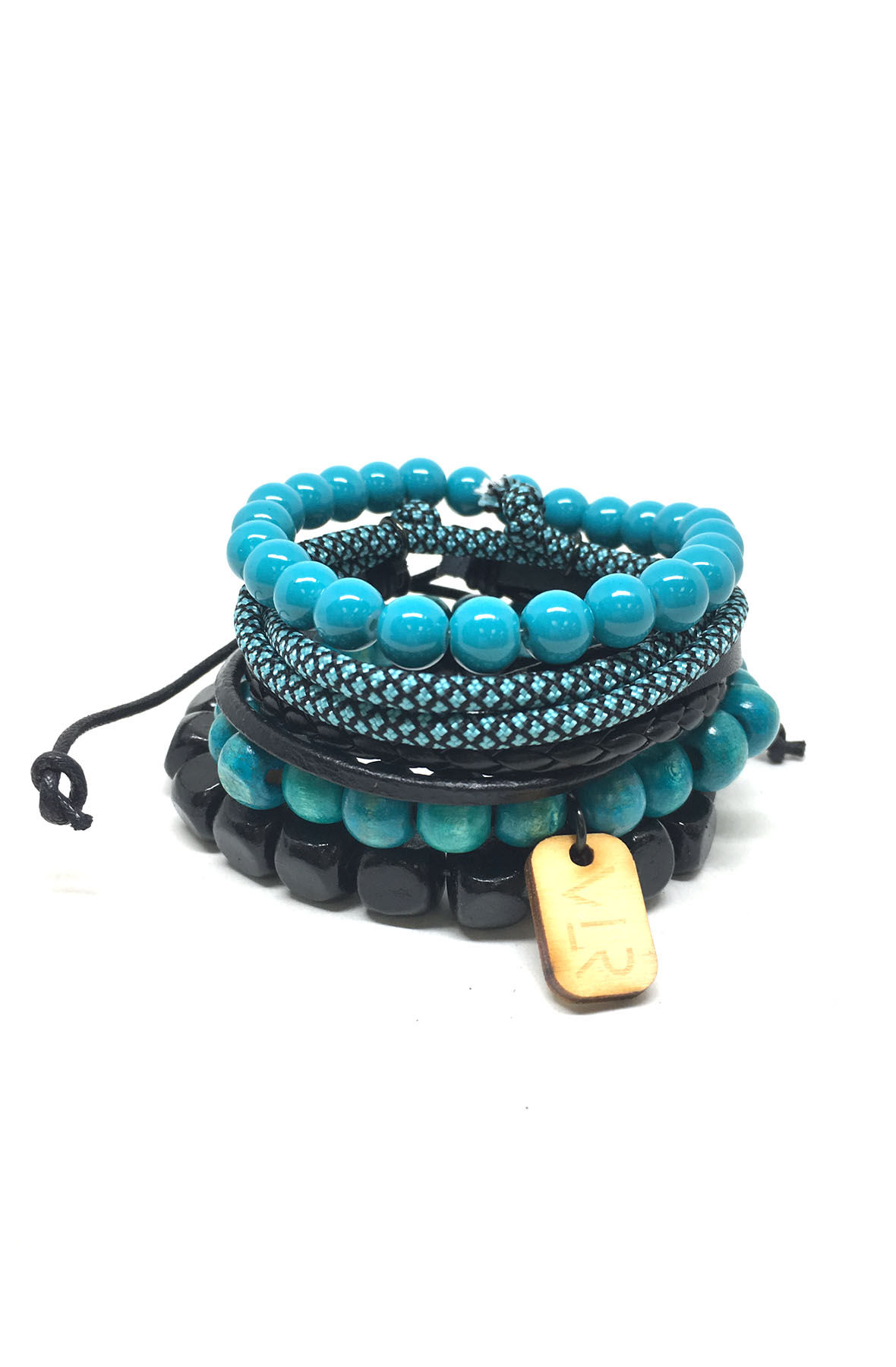 Image of 5 Stack in Black and Teal