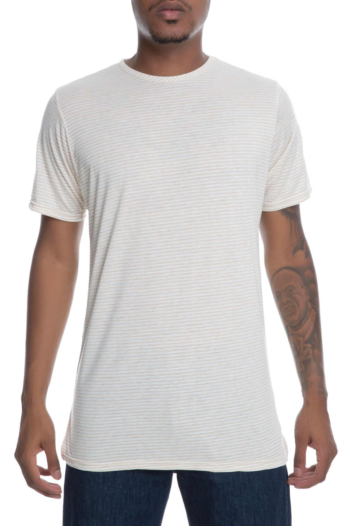 Image of The Swish Short Sleeve Elongated Tee in Tan and White Stripe