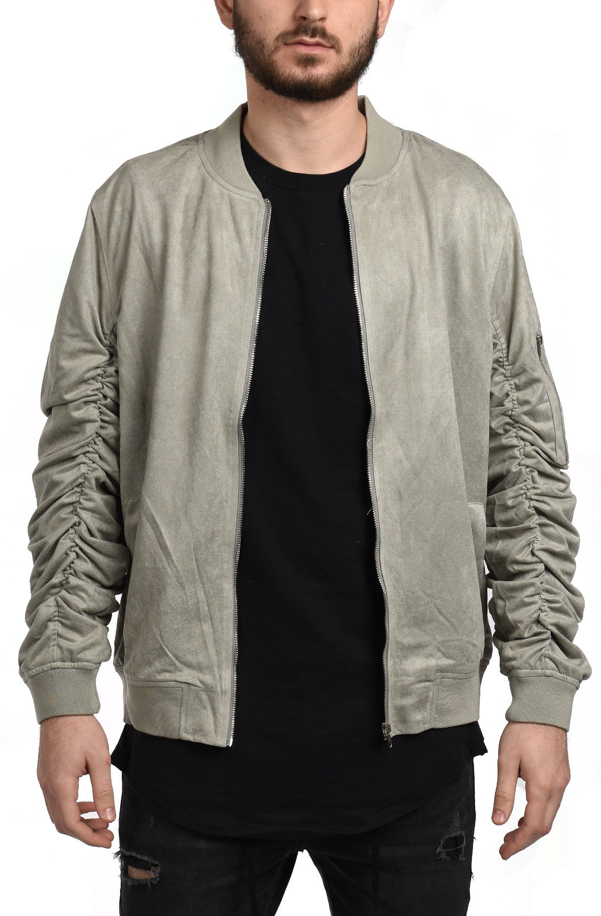 Image of Suede Jacket in Gray