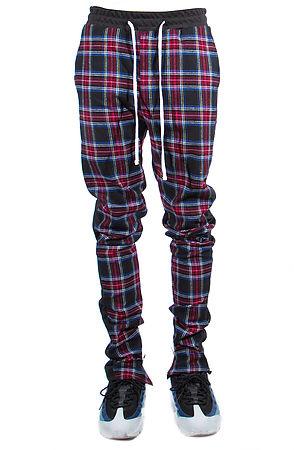 Image of Zipper Track Pants Tartan Black