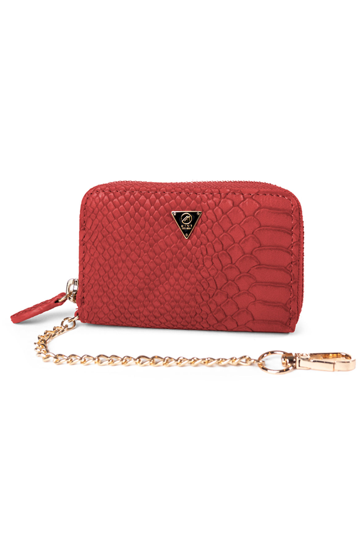 Image of Mint Anaconda Leather Pouch Red