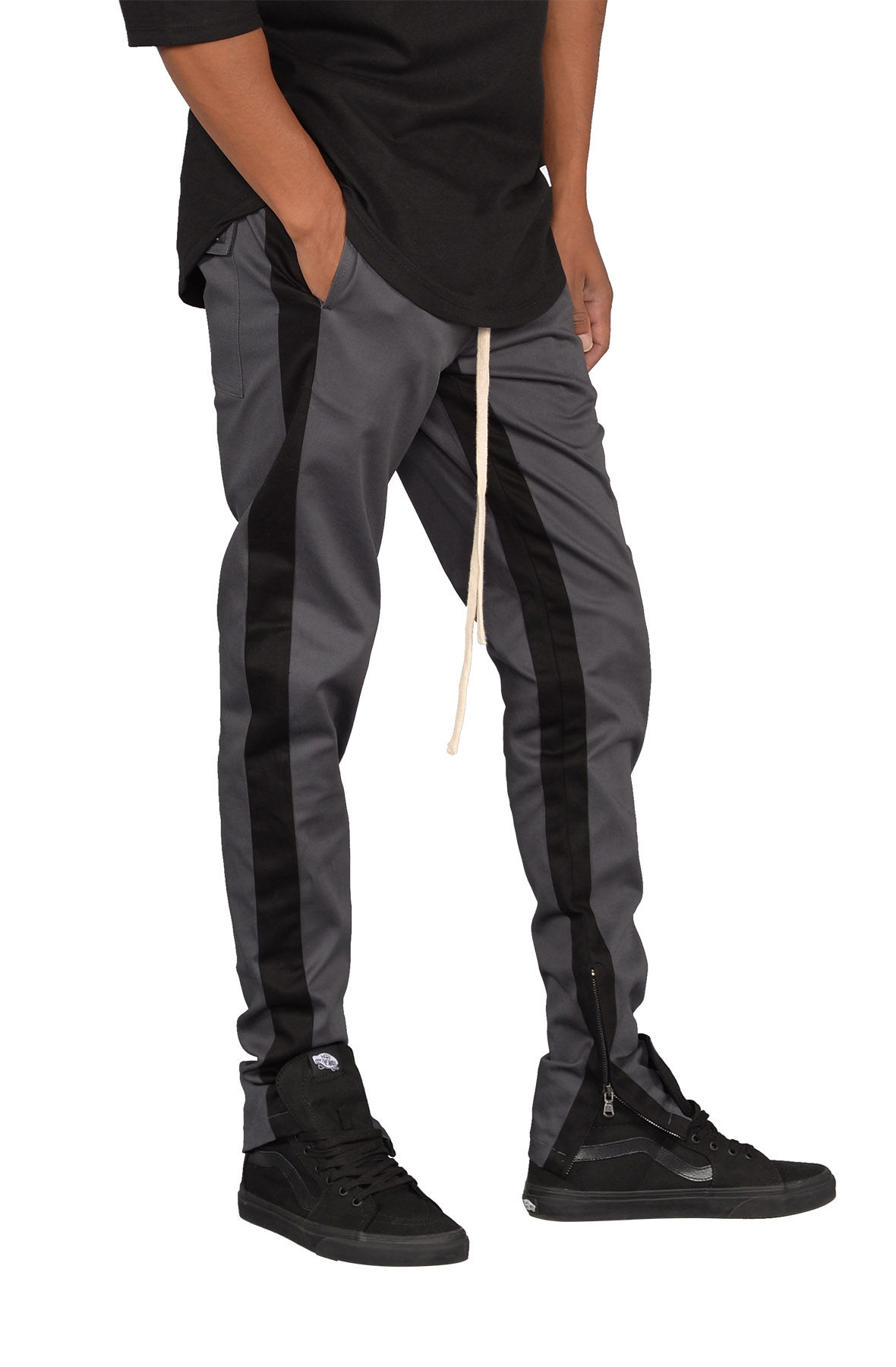 Striped Track Pants w/ Ankle Zip in Charcoal & Black