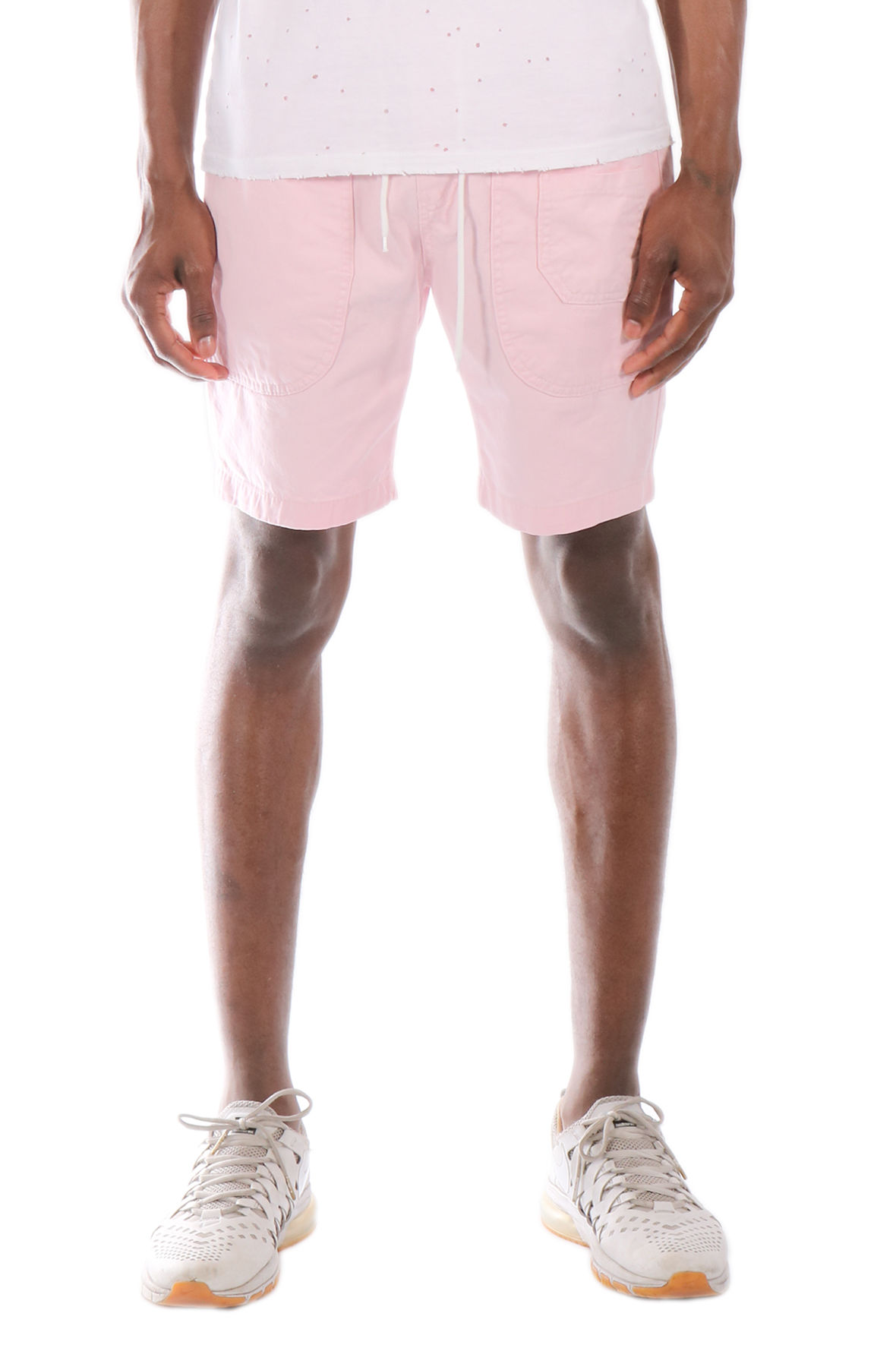 Image of The Allston Pastel Color Cotton Twill Elastic Banded Shorts in Pastel Pink