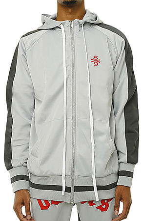 Image of Own The Team Double Stripe Track Jacket Grey