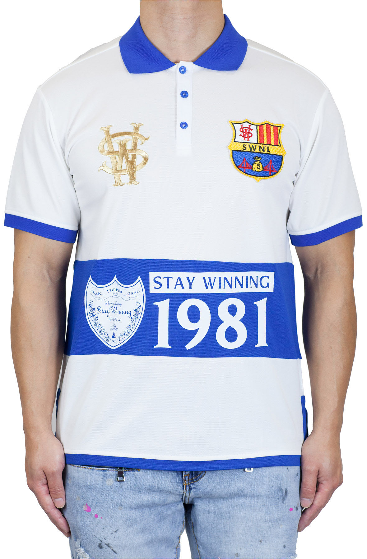 Image of Stay Winning Cream/Royal Soccer Polo Tee