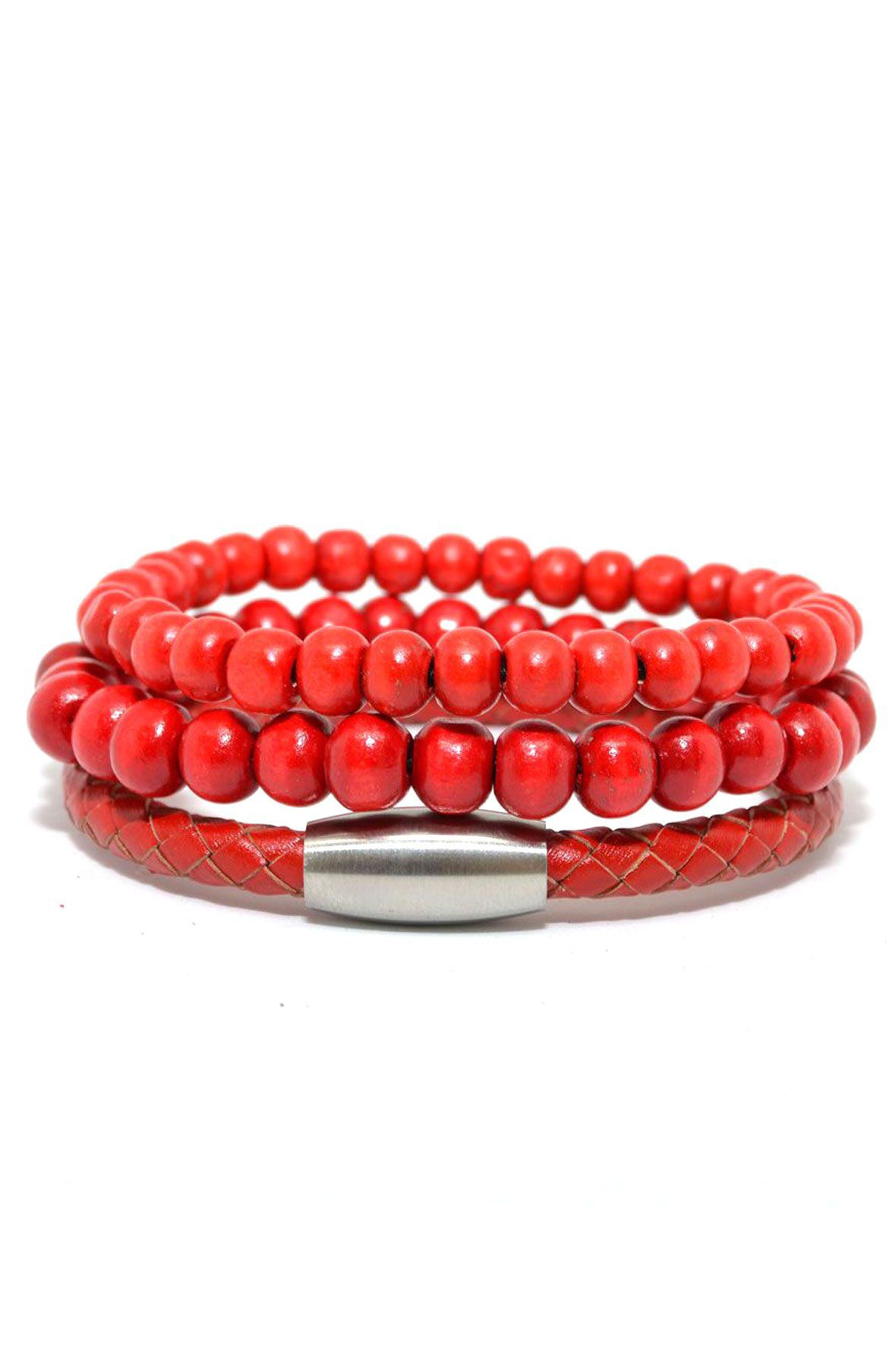 3 Pack Red Beaded Set