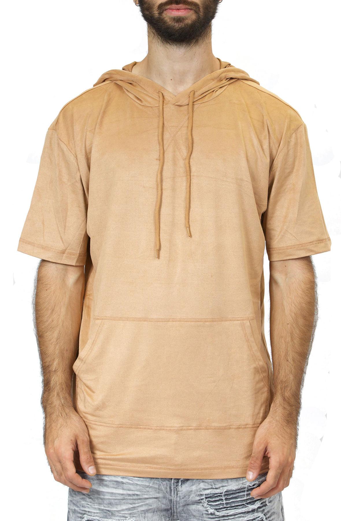 Image of Short Sleeve Suede Hoodie / Khaki