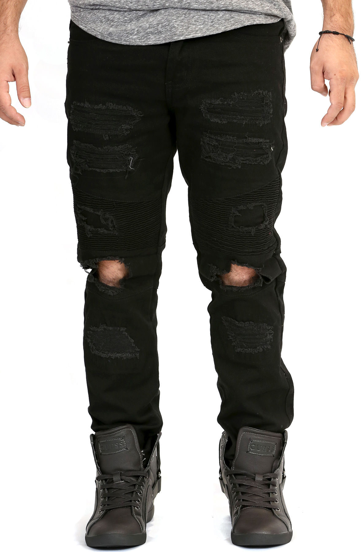 Image of Ripped Knee Skinny Jeans in Jet Black