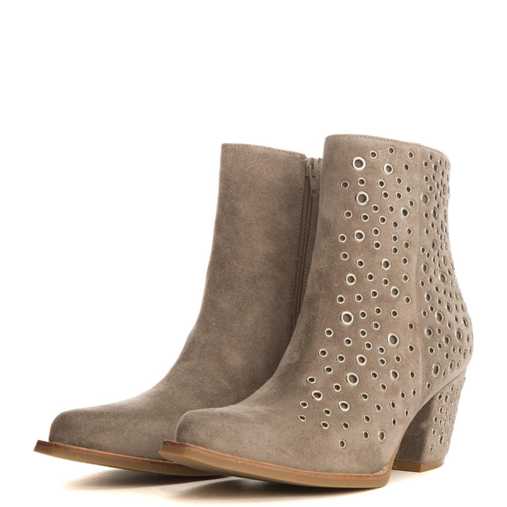 jeffrey campbell for women: bravado-ey taupe heel booties