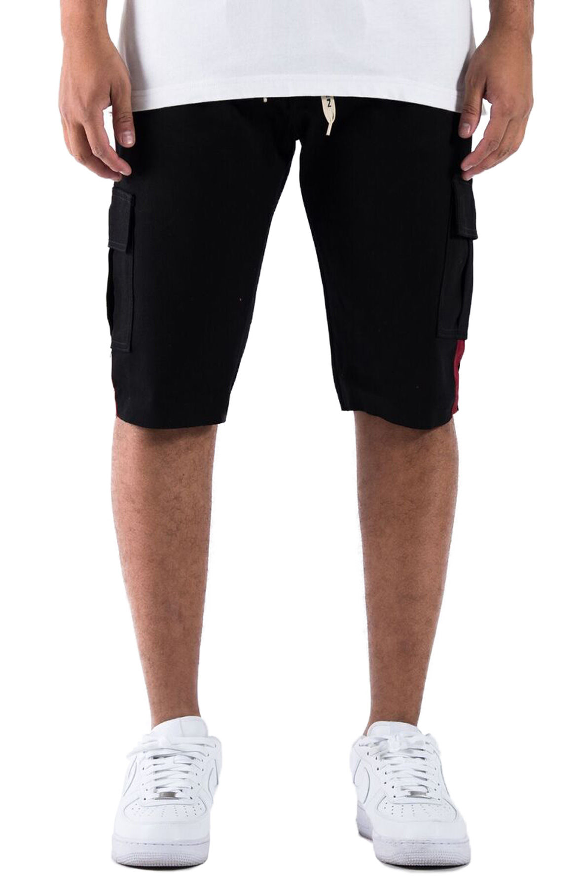 The Union Challenger Cargo Shorts in Black and Burgundy