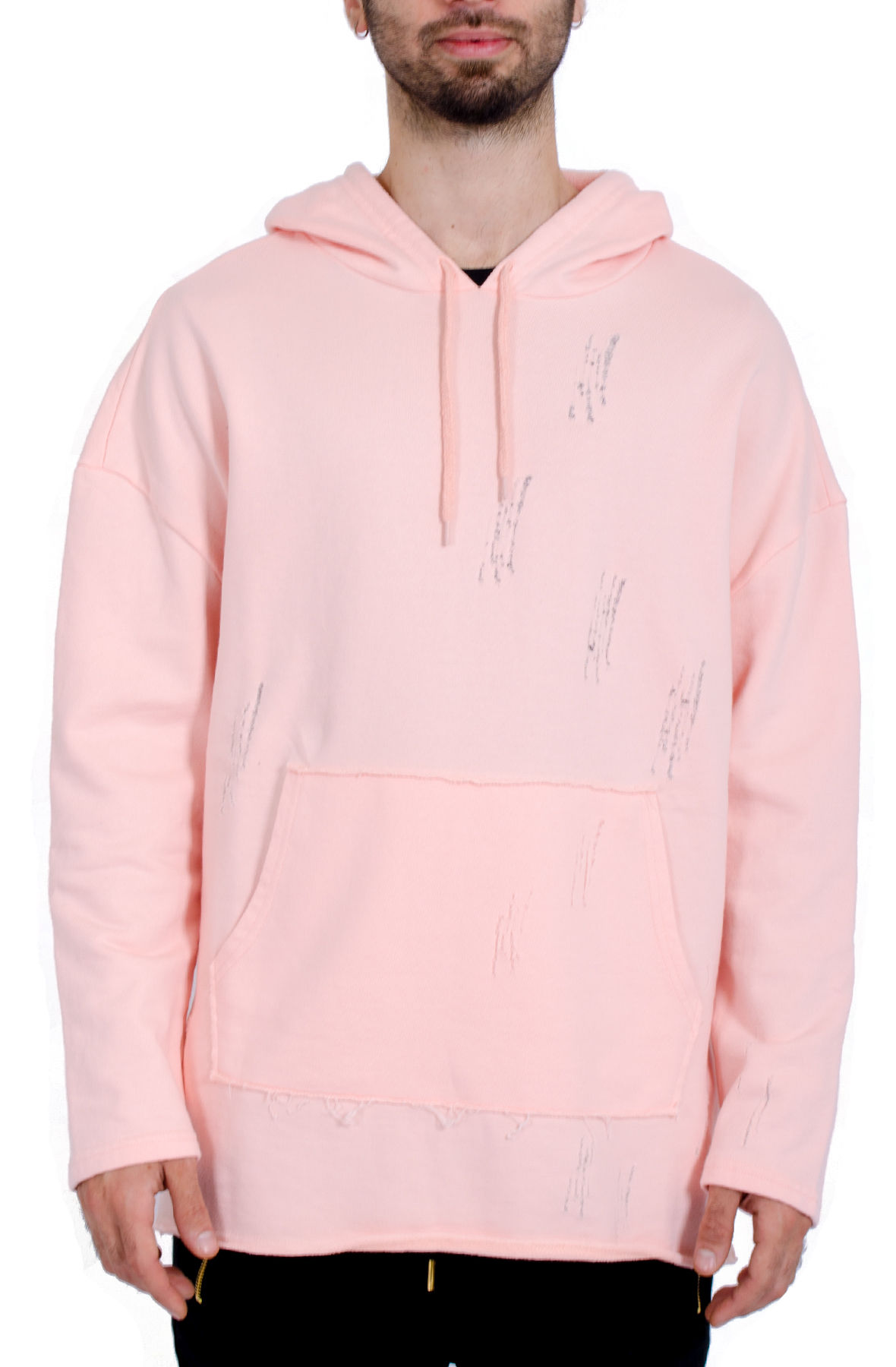 Oversized Distressed Hoodie / Pink