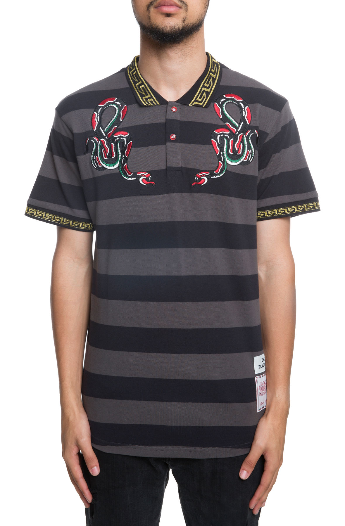 Image of The Serpent Striped POLO in Black
