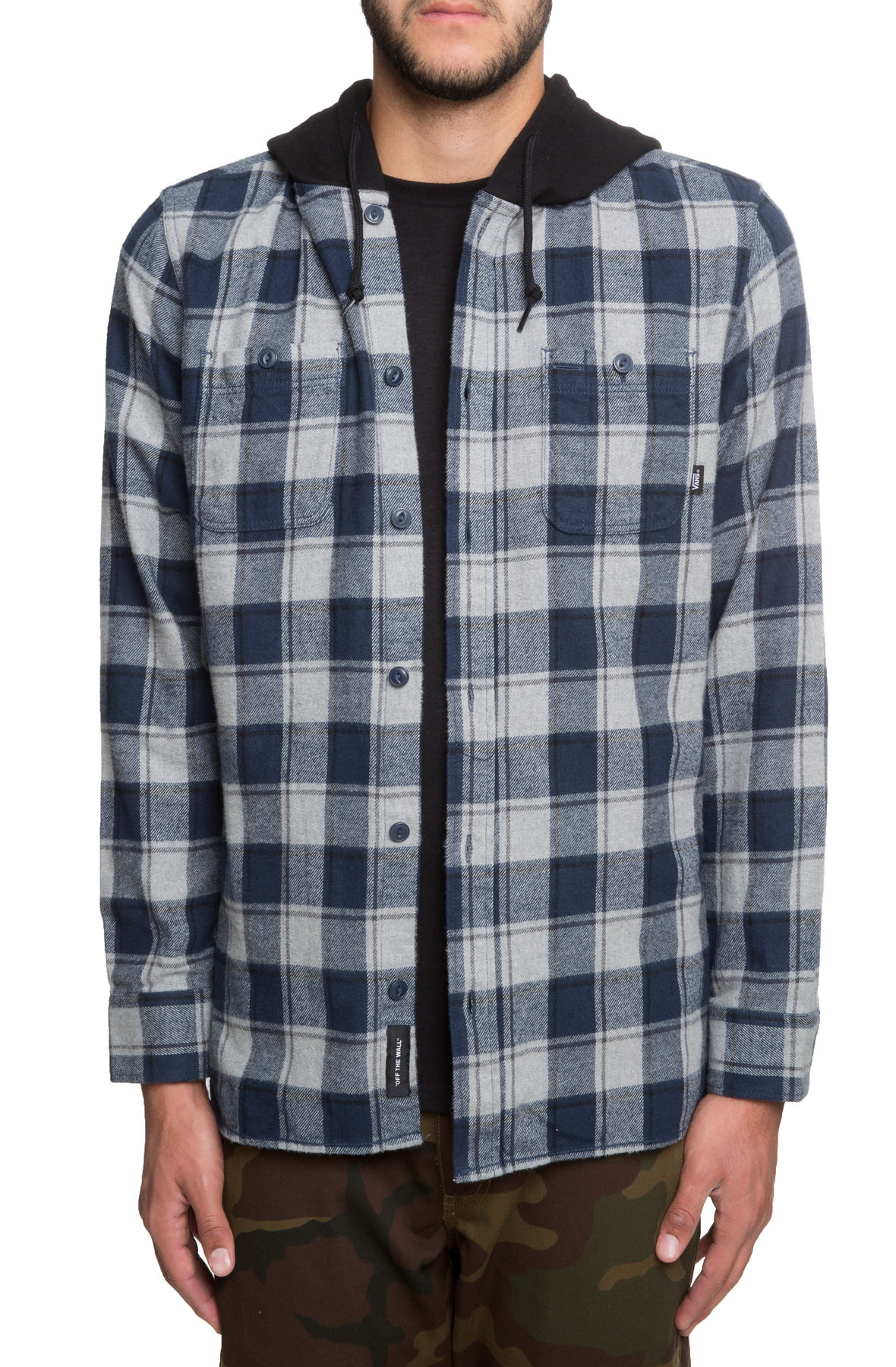 Image of The Lopes Hooded Flannel in Dress Blues and Grey