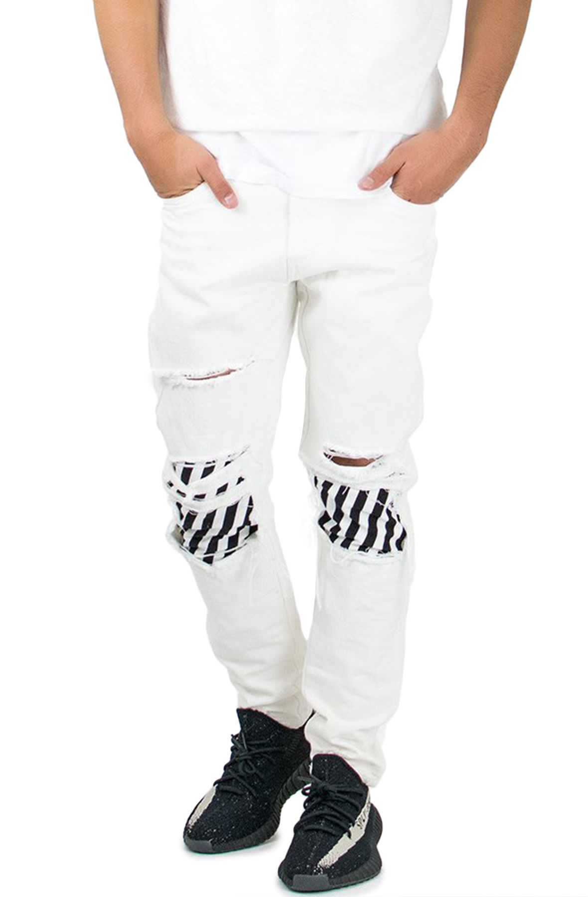 Image of The Stripe Patched Jeans in White