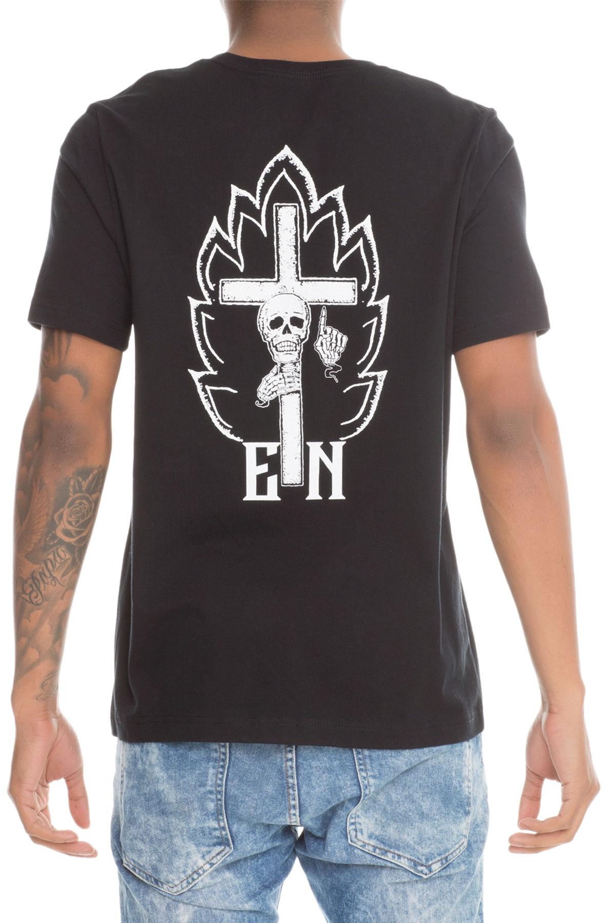 The EN x Karmaloop Skull In Flames Tee in Black