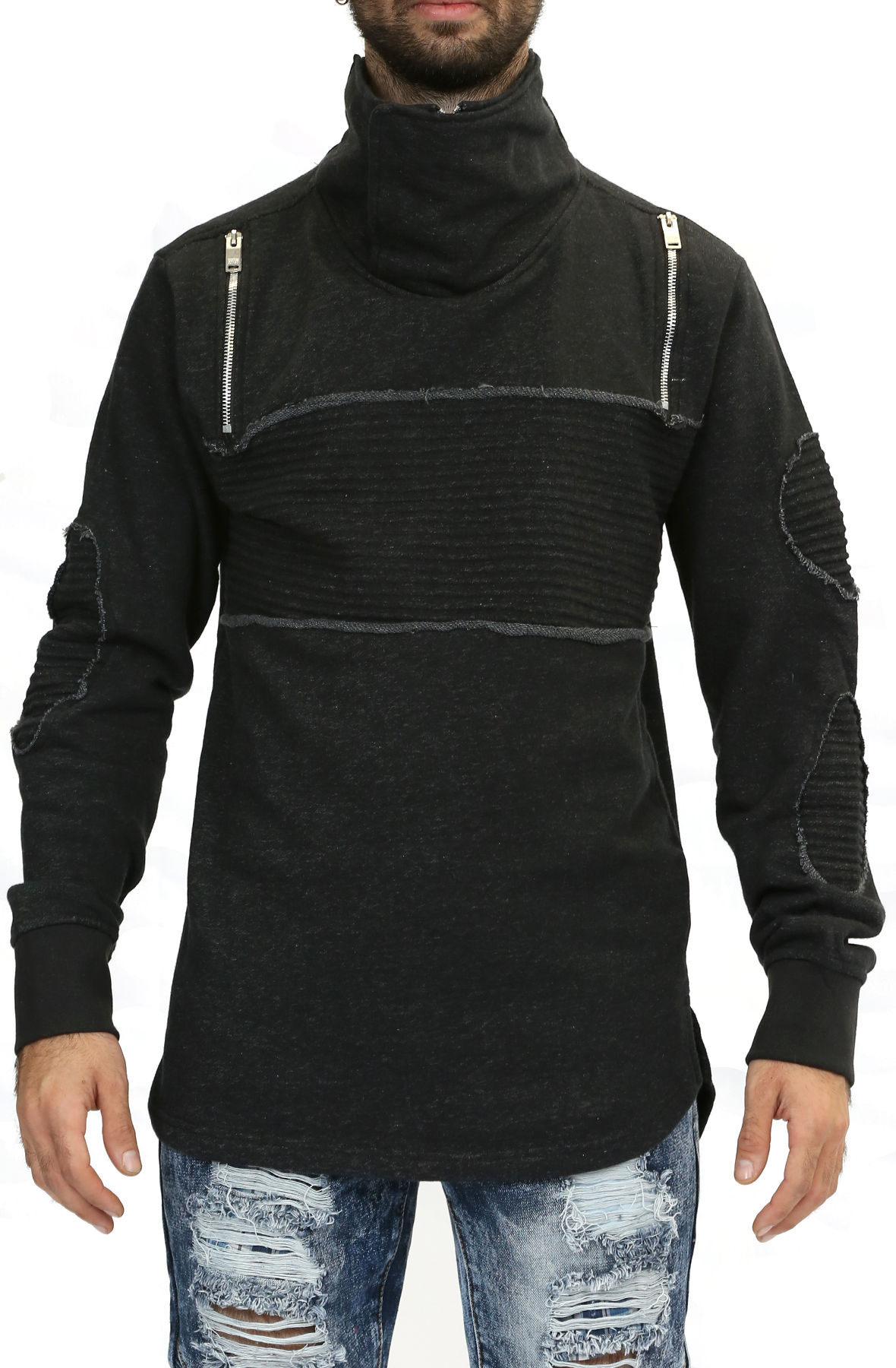 Image of Patched Ski Neck Sweater in Black