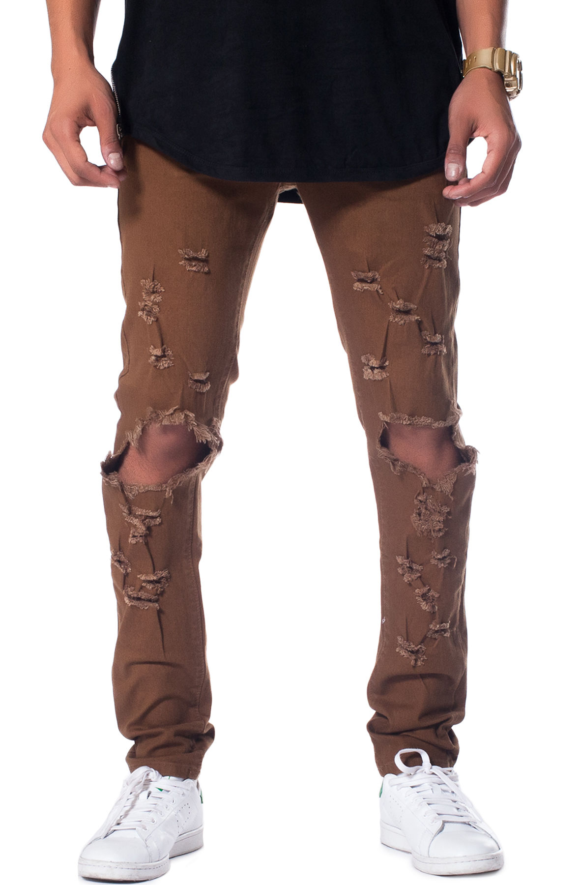 Image of The Essential Denim Jeans in Tan Distressed
