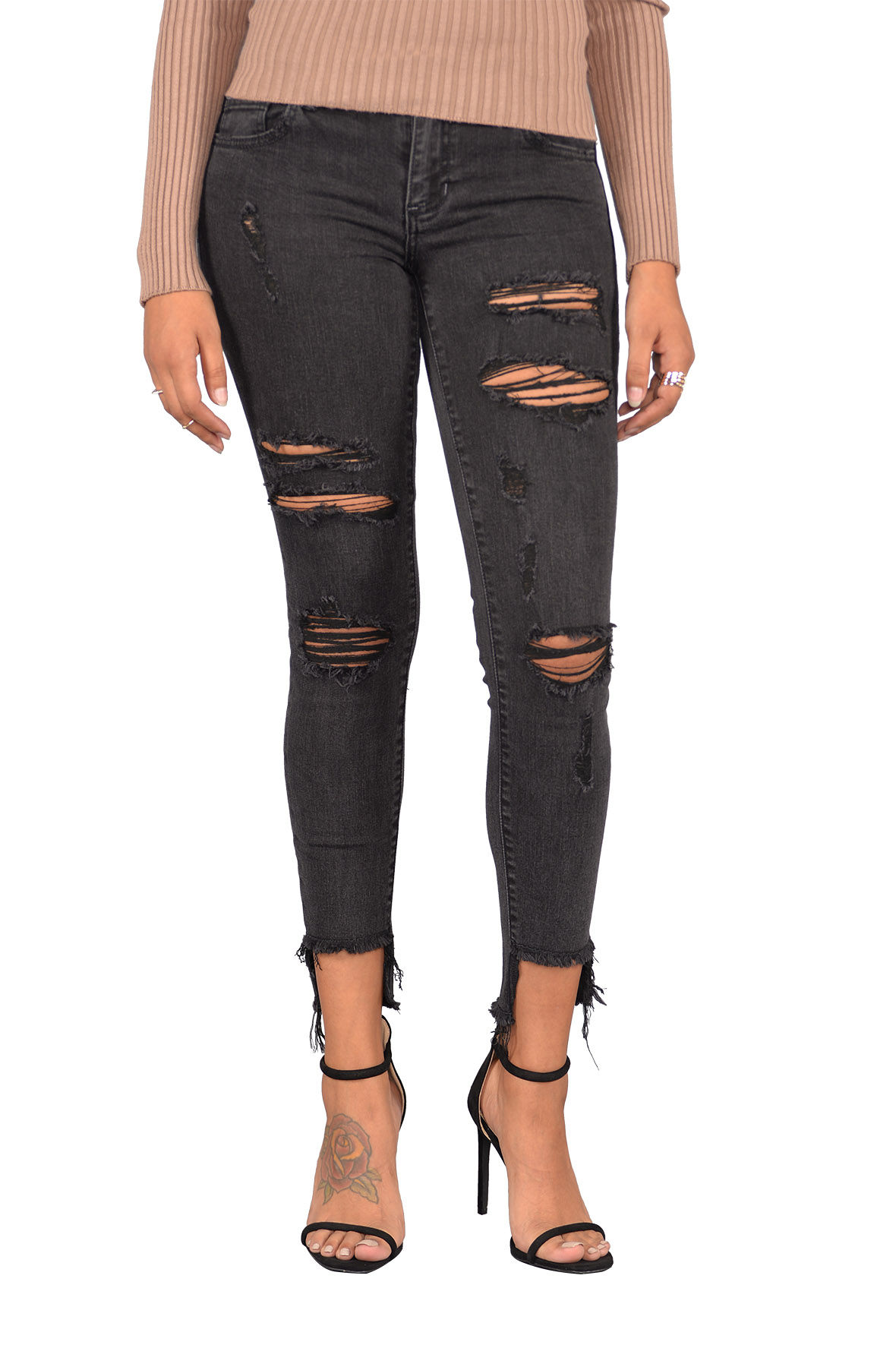 Image of Mid Rise Distressed Step Hem w/ Raw Cut Jeans